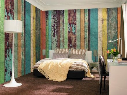 Colored Wooden Wall non woven wallpaper